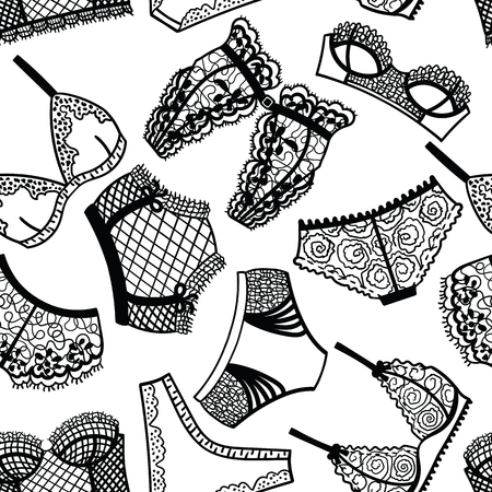 chic panties: Lingerie panty and bra seamless pattern. Vector illustration.