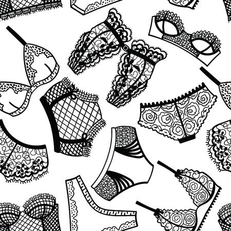 panty: Lingerie panty and bra seamless pattern. Vector illustration.