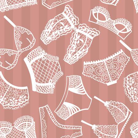 fondo elegante: panty de la ropa interior y patrón transparente sujetador. Ilustración del vector.