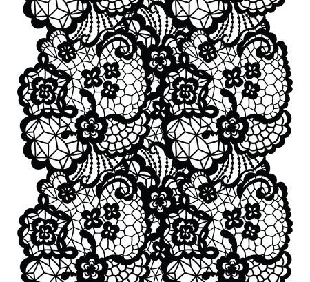 trims: Black lacy vintage elegant trim. Vector illustration.