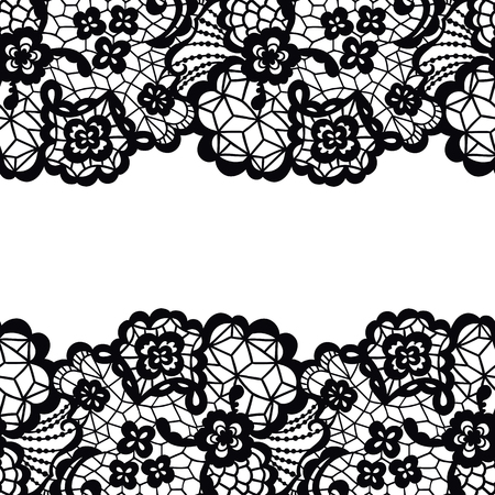 lace vector: Seamless lace border. Vector illustration. Black lacy vintage elegant trim. Illustration