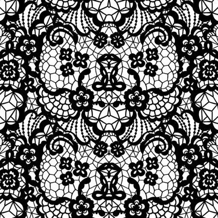 encaje: patrón transparente de encaje negro con flores sobre fondo blanco