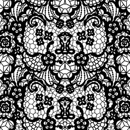 Black lace seamless pattern with flowers on white background