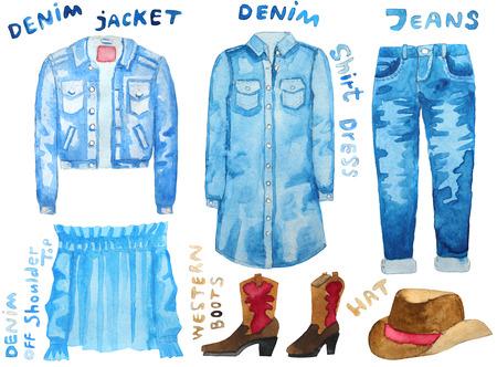 woman white shirt: Denim jacket, denim shirt dress, denim off shoulder top, jeans, western boots, hat. Hand drawn watercolor illustration. Raster illustration