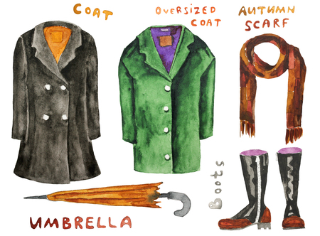 lady shopping: Autumn coat, oversized coat, boots, scatf, umbrella. Hand drawn watercolor illustration. Hand drawn watercolor illustration. Raster illustration