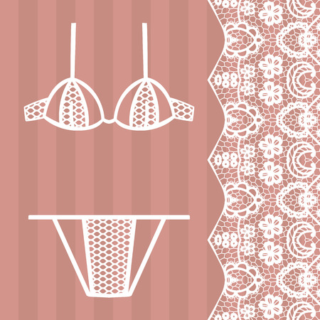panty: Hand drawn lingerie. Panty and bra set. Vector illustration