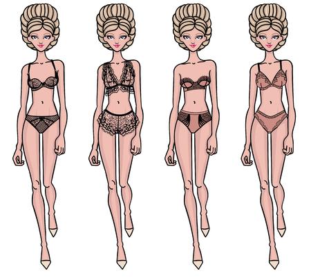Collection of lingerie. Panty and bra set. Carwalk, models. Vector illustrations