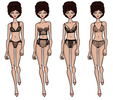 panty: Collection of lingerie. Panty and bra set. Carwalk, models. Vector illustrations