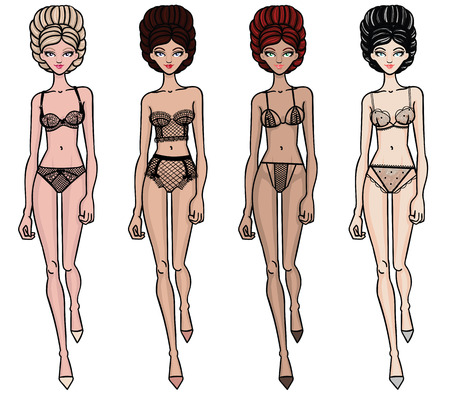 Collection of lingerie. Panty and bra set. Carwalk, models. Vector illustrations