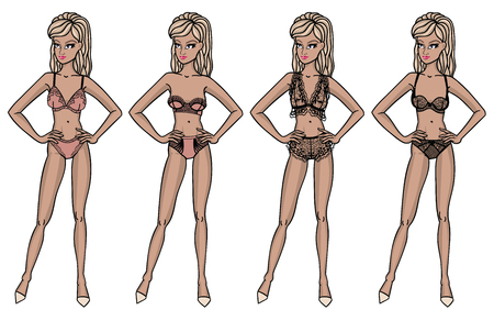 Collection of lingerie. Panty and bra set. Catwalk, models. Vector illustrations