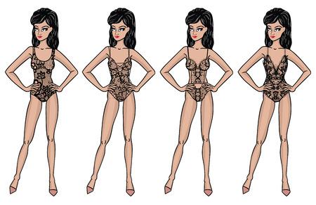 Collection of lingerie. Body set. Catwalk, models Vector illustrations Illustration