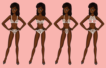 panty: Collection of lingerie. Panty and bra set. Catwalk, models. Vector illustrations. Bridal complect