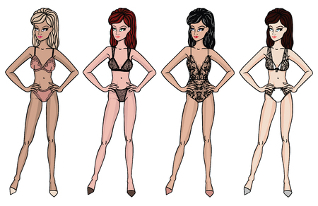 panty: Collection of lingerie. Panty and bra set. Catwalk, models. Vector illustrations