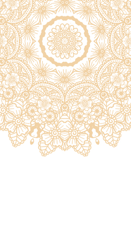 lace pattern: Round brown mandala background. Creative vector illustration