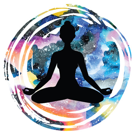 astral: Women silhouette on galaxy astral watercolor rextured background. Yoga lotus pose. Padmasana. Vector illustration. Illustration