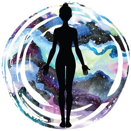 astral: Women silhouette on galaxy astral background. Yoga mountain pose. Tadasana. Vector illustration.