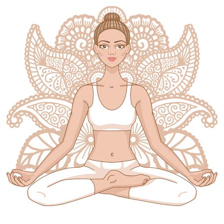 Women silhouette on paisley mehndi ormanent background. Yoga lotus pose. Padmasana. Harmony, meditation Workout Vector illustration