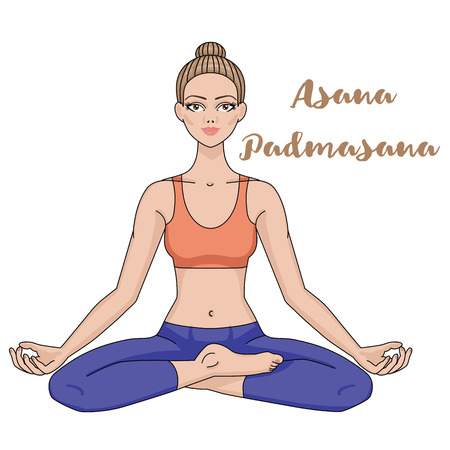 yoga meditation: Women silhouette. Yoga lotus pose. Padmasana. Harmony, meditation Workout Vector illustration Illustration