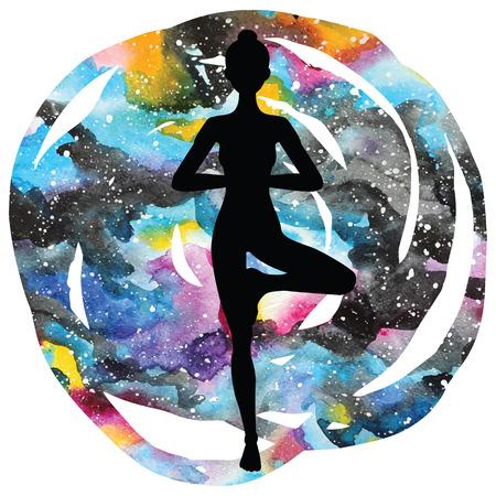 astral: Women silhouette on galaxy astral background. Tree yoga pose.Vrikshasana. Vector illustration.
