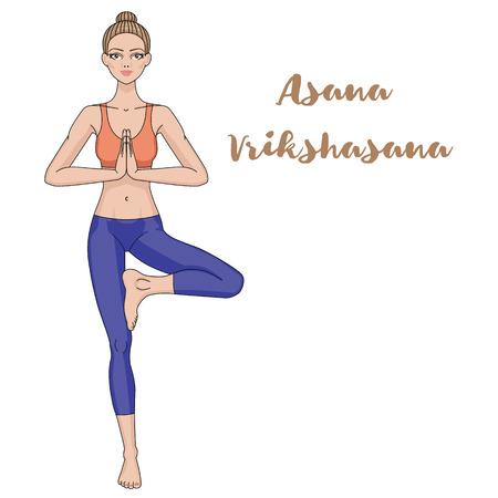 pose: Women silhouette.Yoga tree pose. Vrikshasana Vector illustration Illustration
