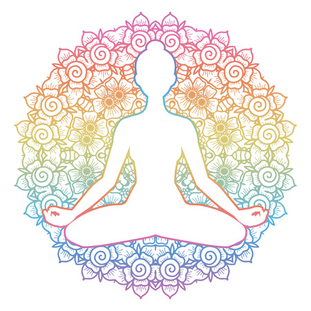 tantra: Women silhouette. Mandala round background. Yoga lotus pose. Padmasana. Vector illustration