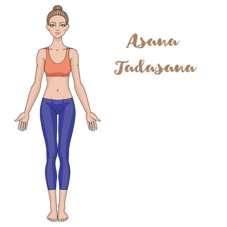 pose: Women silhouette. Yoga mountain pose. Tadasana Vector illustration