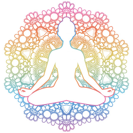 tantra: Women silhouette. Mandala round background. Yoga lotus pose. Padmasana. Vector illustration