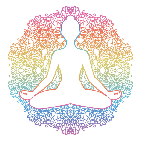 Women silhouette. Mandala round background. Yoga lotus pose. Padmasana. Vector illustration