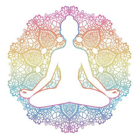 Women silhouette. Mandala round background. Yoga lotus pose. Padmasana. Vector illustration Imagens - 69147102