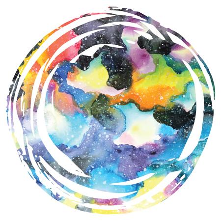 Watercolor galaxy background. Watercolor galaxy illustration. Vector trendy modern illustration.