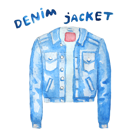 denim jacket: Denim jacket. Hand drawn watercolor illustration. Raster illustration
