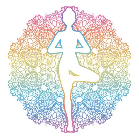 Mandala round background. Women silhouette. Yoga tree pose. Vrikshasana. Vector illustration