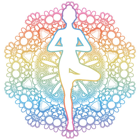 tantra: Mandala round background. Women silhouette. Yoga tree pose. Vrikshasana. Vector illustration