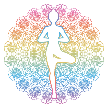 tantra: Mandala round background. Women silhouette. Yoga tree pose. Vrikshasana. Vector illustration