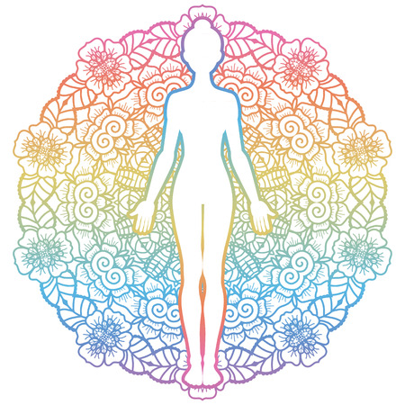 Mandala round background.Women silhouette. Yoga mountain pose. Tadasana. Vector illustration