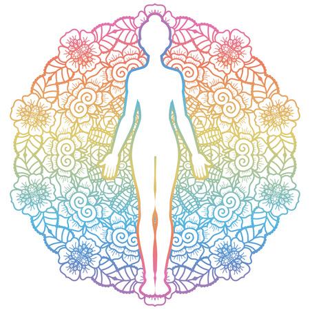 Mandala runder Hintergrund.Women Silhouette. Yoga Berghaltung Tadasana Vektor-Illustration