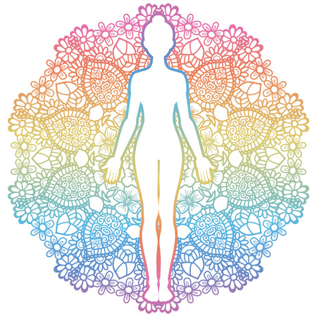 Mandala round background.Women silhouette. Yoga mountain pose. Tadasana. Vector illustration