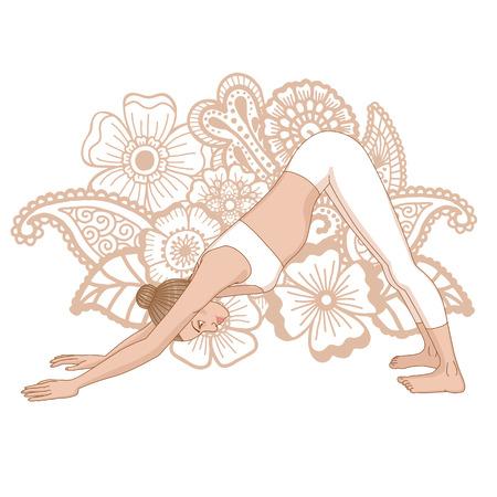 Women silhouette. Adho mukha svanasana. Downward dog. Vector illustration Illustration