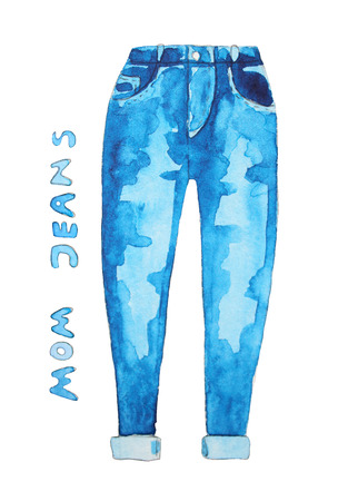 in jeans: los pantalones vaqueros azules. Dibujado a mano ilustración de la acuarela.