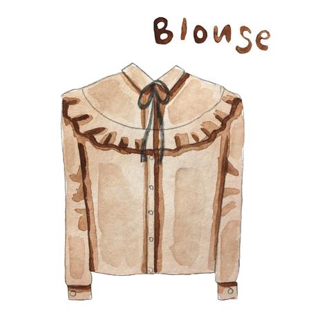 woman white shirt: Blouse. Hand drawn watercolor illustration.