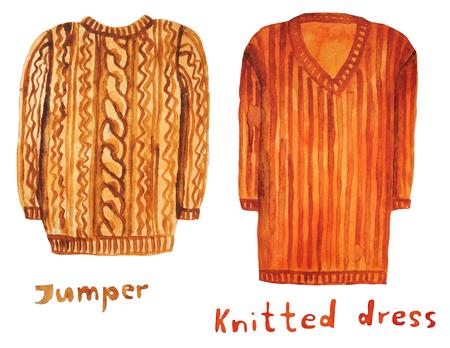 Jumper. Knitted dress. Raster illustration.