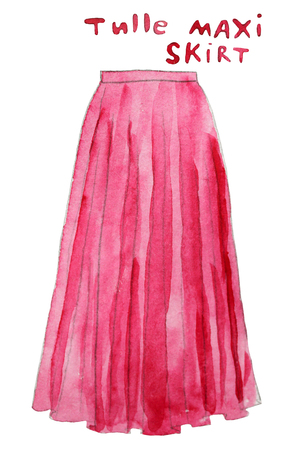 Pink tulle maxi skirt. Hand drawn watercolor illustration.