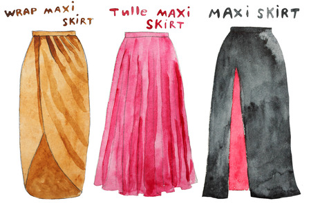 Pink tulle maxi skirt. Wrap yellow  . Hand drawn watercolor illustration.