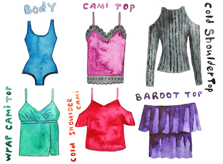 body wrap: Cami top, body, cold shoulder , wrap  , could  , bardot . Hand drawn watercolor illustration.