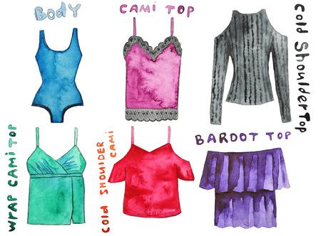 Cami top, body, cold shoulder , wrap  , could  , bardot . Hand drawn watercolor illustration.