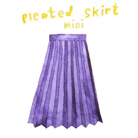 pleated: Pleated midi skirt. Hand drawn watercolor illustration. Stock Photo