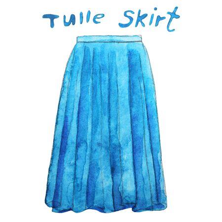 Blue tulle maxi skirt. Hand drawn watercolor illustration. Stock fotó