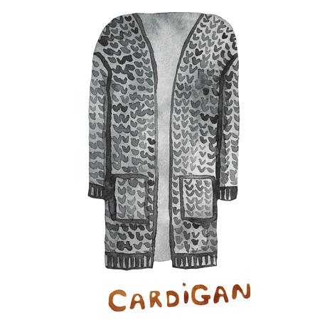cardigan: Cardigan. drawn watercolor illustration. Stock Photo