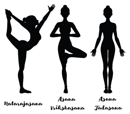 yoga class: Women silhouette. Lord of the dance yoga pose. Natarajasana. mountain . Tadasana. tree . Vrikshasana