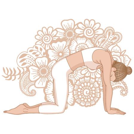 Women silhouette. Cat yoga pose. Marjaryasana Illustration